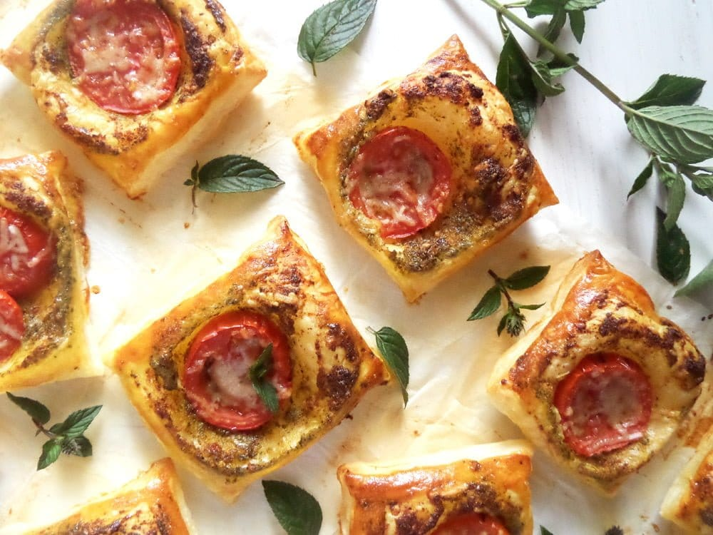 puff pastry pesto bites 15 Easy Dishes for a Potluck Party