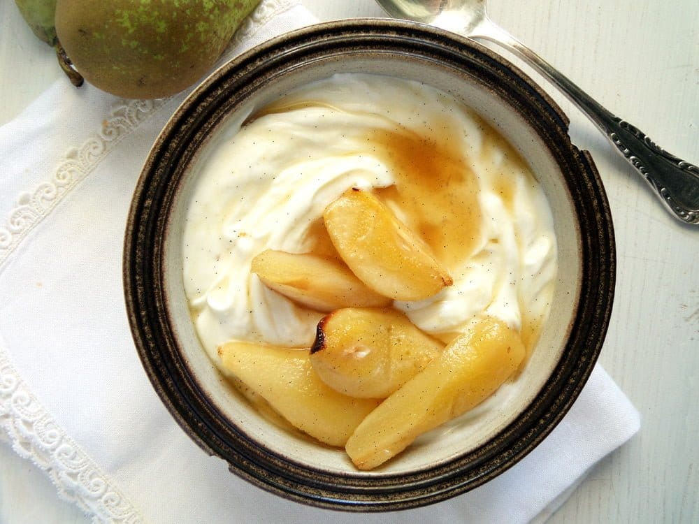 pears with yogurt Roasted Vanilla Cardamom Pears With Honeyed Greek Yogurt