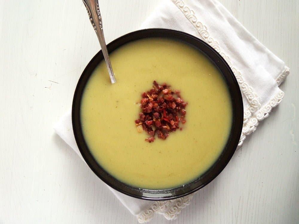 jerusalem artichoke sunchok Creamy Sunchoke Soup with Sambal Oelek Bacon Topping