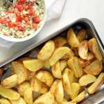 Golden Roasted Potatoes with Avocado Dip
