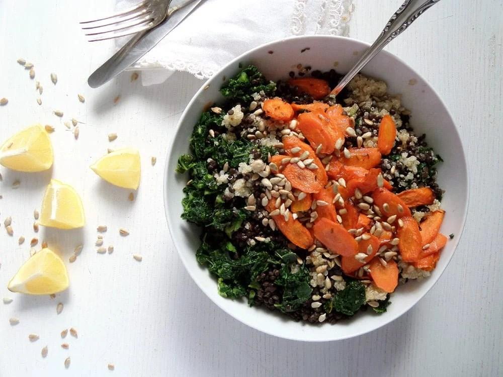 lentil salad sunflower seed Vegan Lentil Quinoa Bowl with Kale, Carrots and Sunflower Seeds
