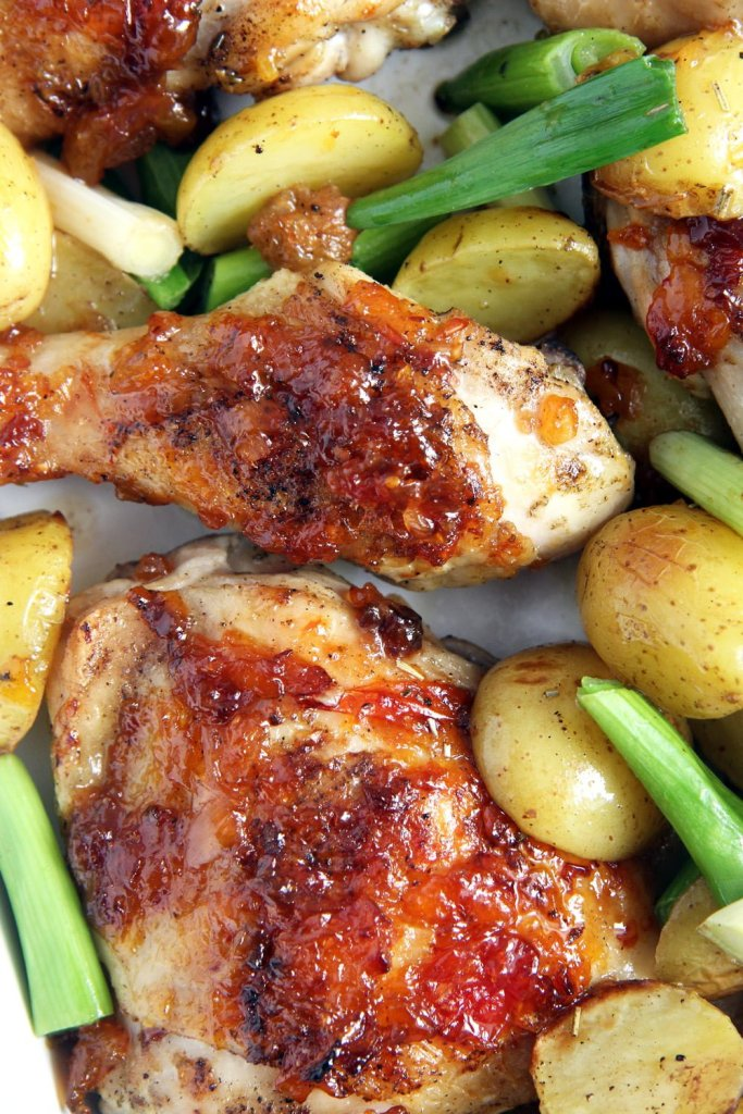 chicken green onions chutne 683x1024 Sticky Roasted Chicken Legs with Green Onions and Mango Chutney