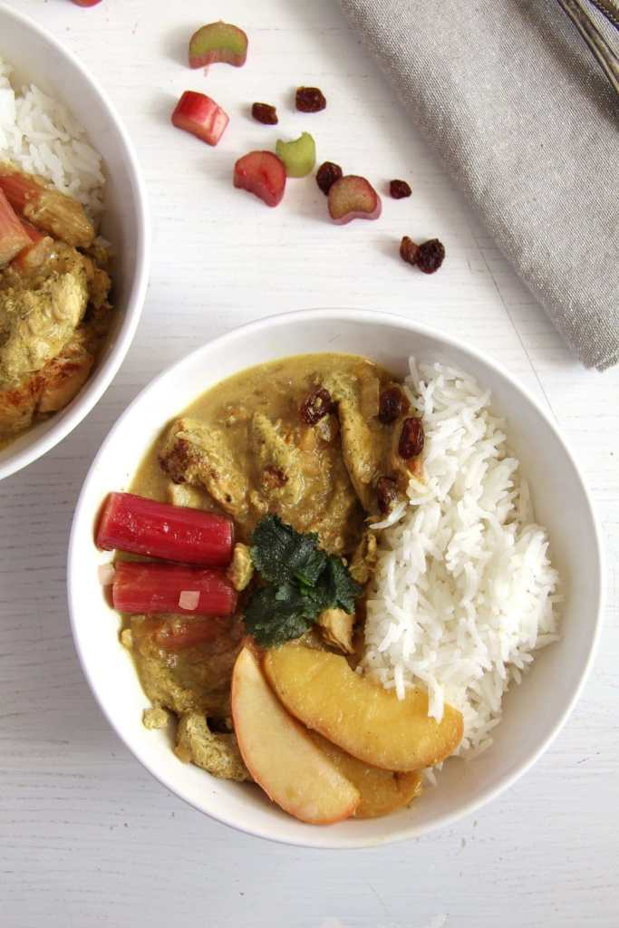 rhubarb chicken apples 683x1024 Chicken Green Curry with Rhubarb, Coconut Milk and Raisins