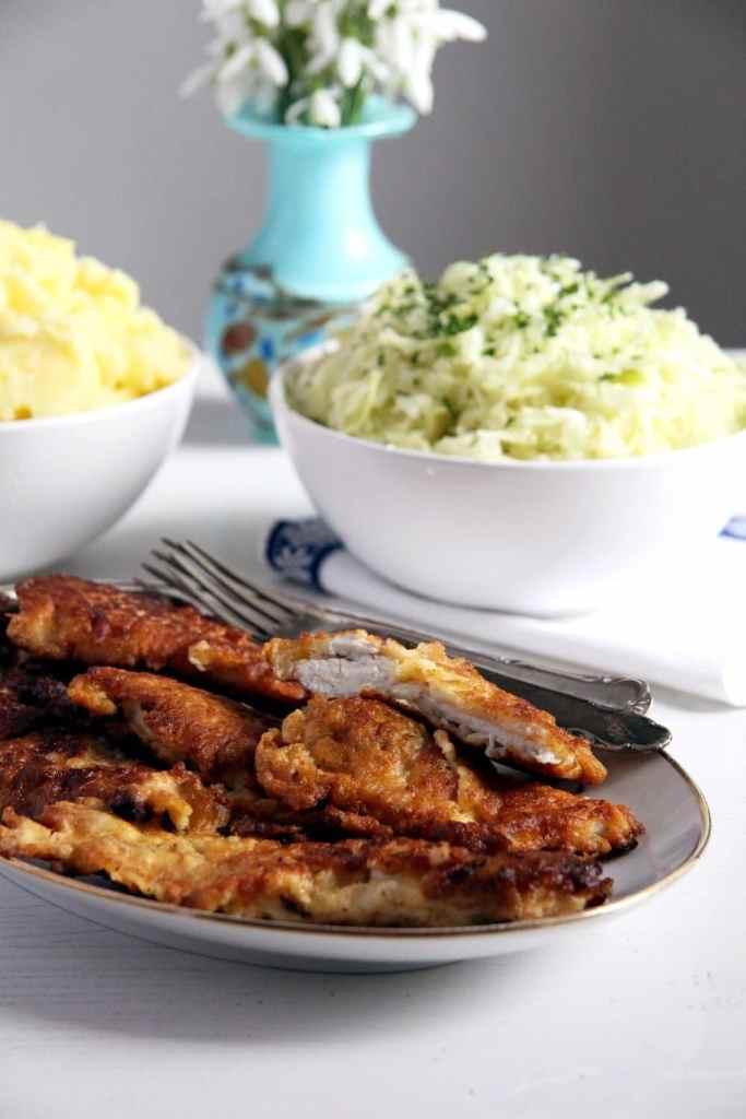schnitzel pancake poultry 683x1024 Tender Chicken Schnitzel in a Crispy Pancake Batter   Romanian Recipe