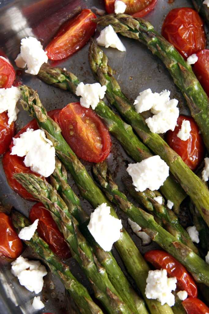 asparagus roasted feta 683x1024 Basic Roasted Green Asparagus with Tomatoes and Feta