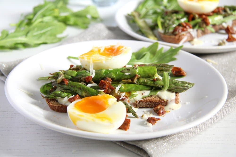 Asparagus Soft Boiled Egg Toast with Parmesan and Capers