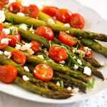 %name Roasted Asparagus Recipe with Tomatoes and Feta