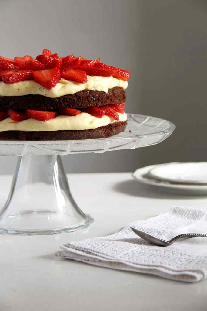 brownie cake strawberry 683x1024 Brownie Strawberry Torte with Condensed Milk Filling