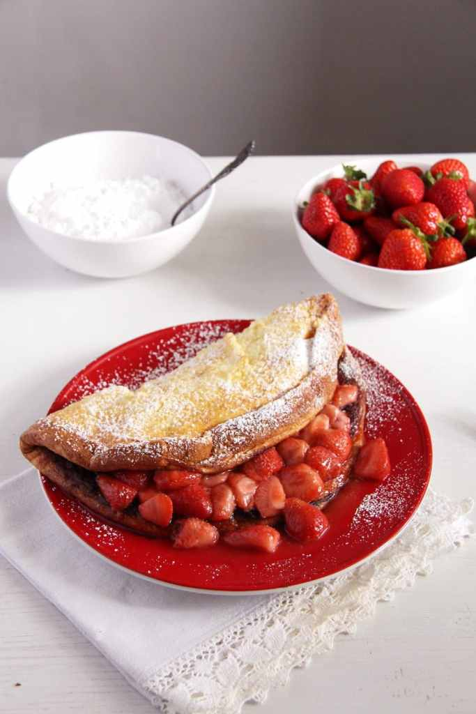 strawberry sauce pancake 683x1024 Fluffy Oven Pancakes with Strawberry Honey Sauce