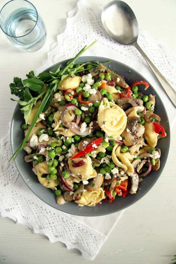 tortellini salad mushrooms 683x1024 German Tortellini Salad with Peas, Mushrooms and Feta