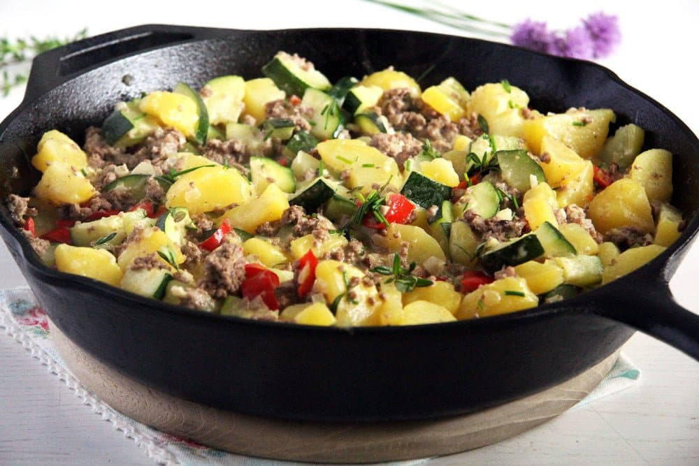zucchini beef Zucchini Beef Skillet with Potatoes and Garlic