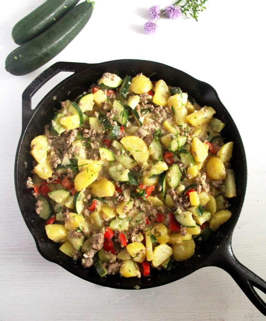 zucchini potatoes 850x1024 Zucchini Beef Skillet with Potatoes and Garlic