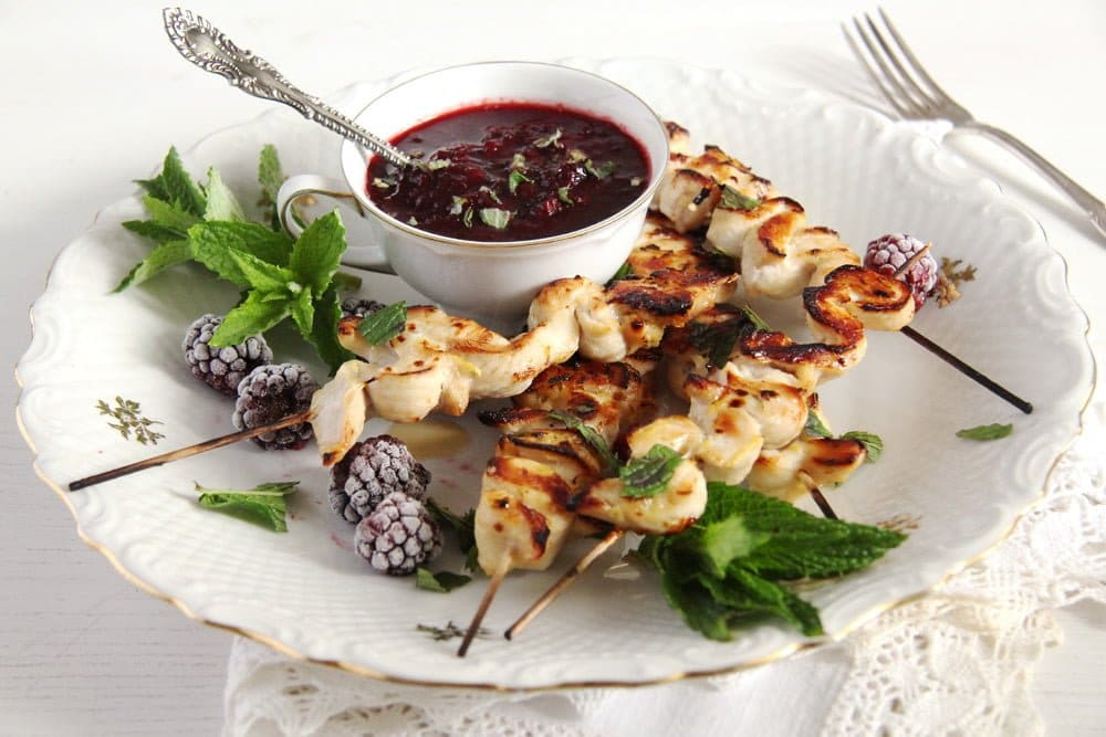 blackberry sauce berries Chicken Breast Skewers with Blackberry Sauce