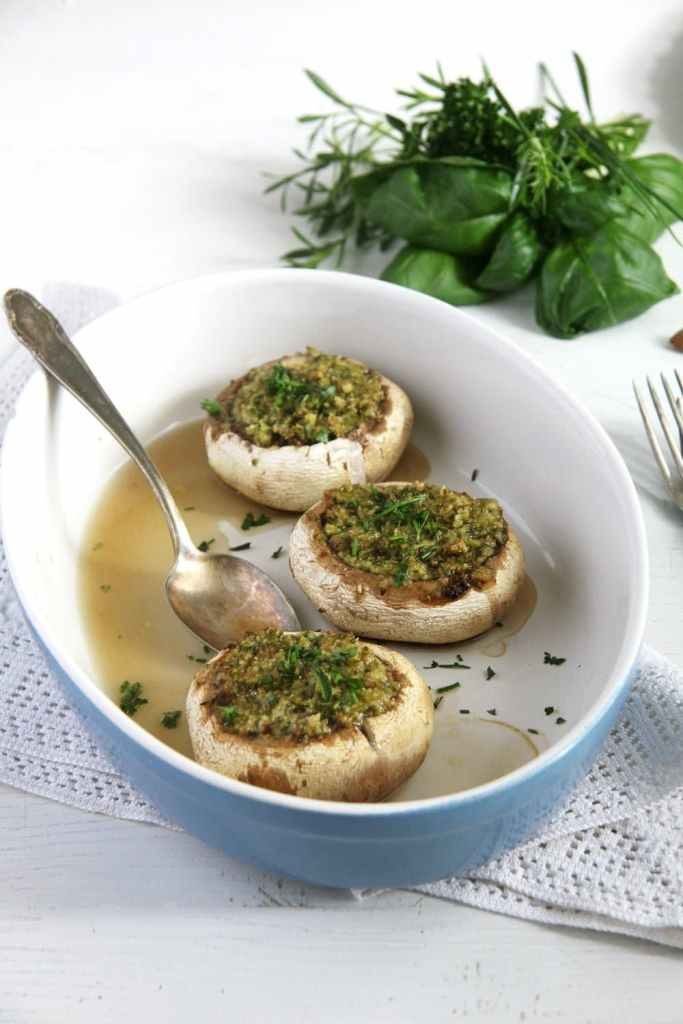 stuffed mushrooms herbs 683x1024 Mushrooms with Herb Butter and Almond Filling