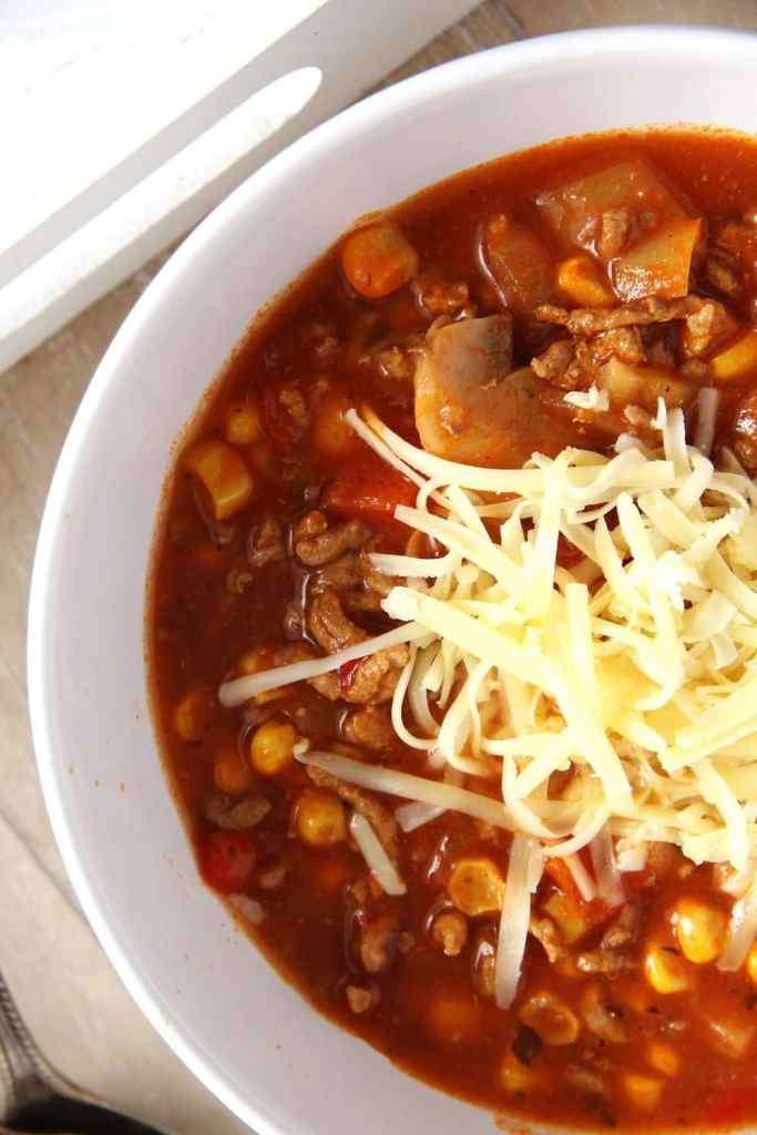 pizza soup ground meat 683x1024 Pizza Soup with Beef, Mushrooms, Corn and Cheese