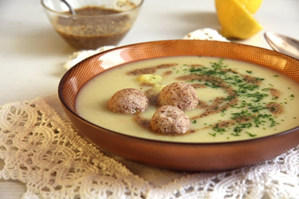 cauliflower soup dukkah Cauliflower Soup with Almond Balls and Coriander Cumin Dukkah