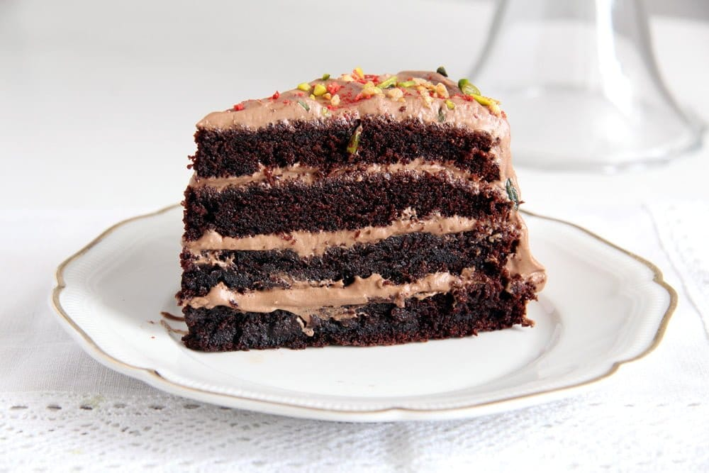 Moist Chocolate Gateau or Cake with Chocolate Cream Filling