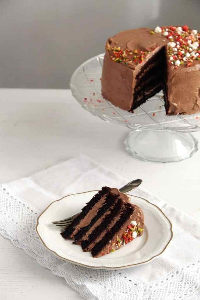 chocolate gateau 683x1024 Moist Chocolate Gateau or Cake with Chocolate Cream Filling