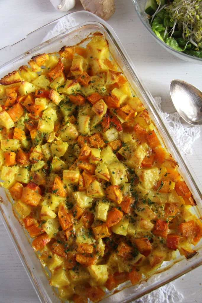 pumpkin casserole potato 683x1024 Vegan Pumpkin Potato Casserole with Coconut Milk
