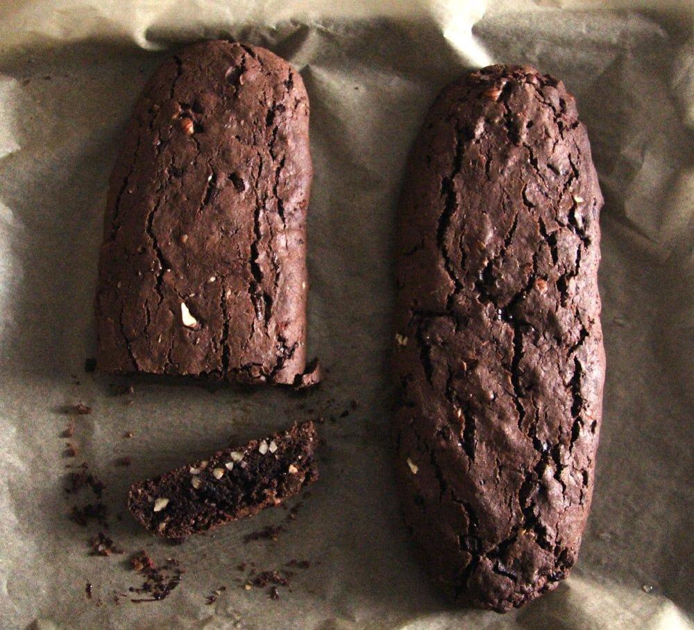 hazelnut biscotti loaf Crunchy Hazelnut Dark Chocolate Biscotti