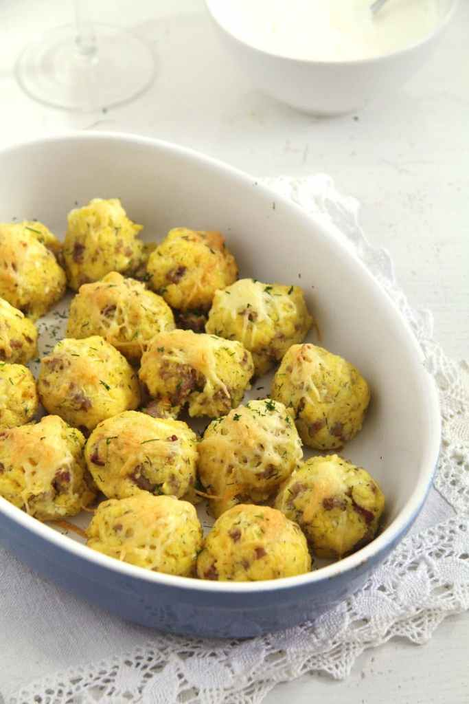 polenta balls 683x1024 Polenta and Cheese Balls with Sausages and Dill