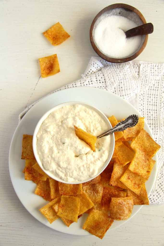 polenta chips dip 683x1024 Crunchy and Spicy Polenta Chips   Low Fat and Gluten Free