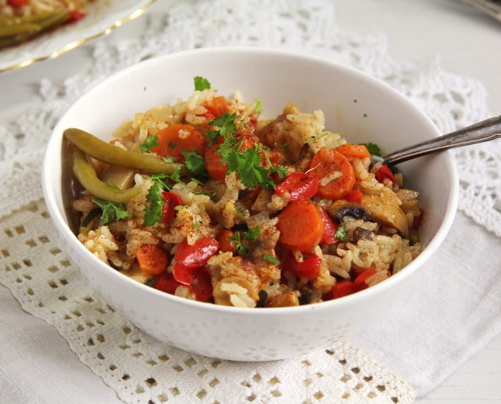 rice vegetables peppers Romanian Vegan Vegetable Rice or Pilaf