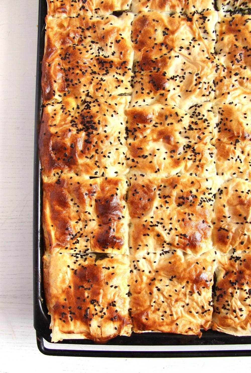 börek spinach turkish Spinach Feta Pie with Yogurt   Turkish Börek