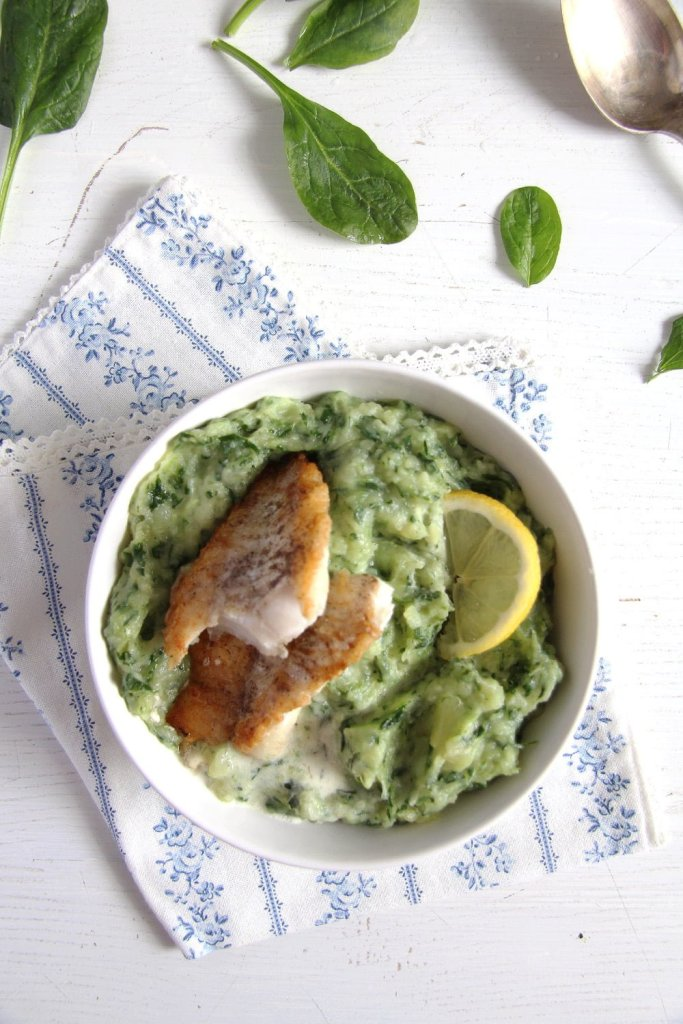 spinach potato puree 683x1024 Creamy Spinach Potato Mash with Fish