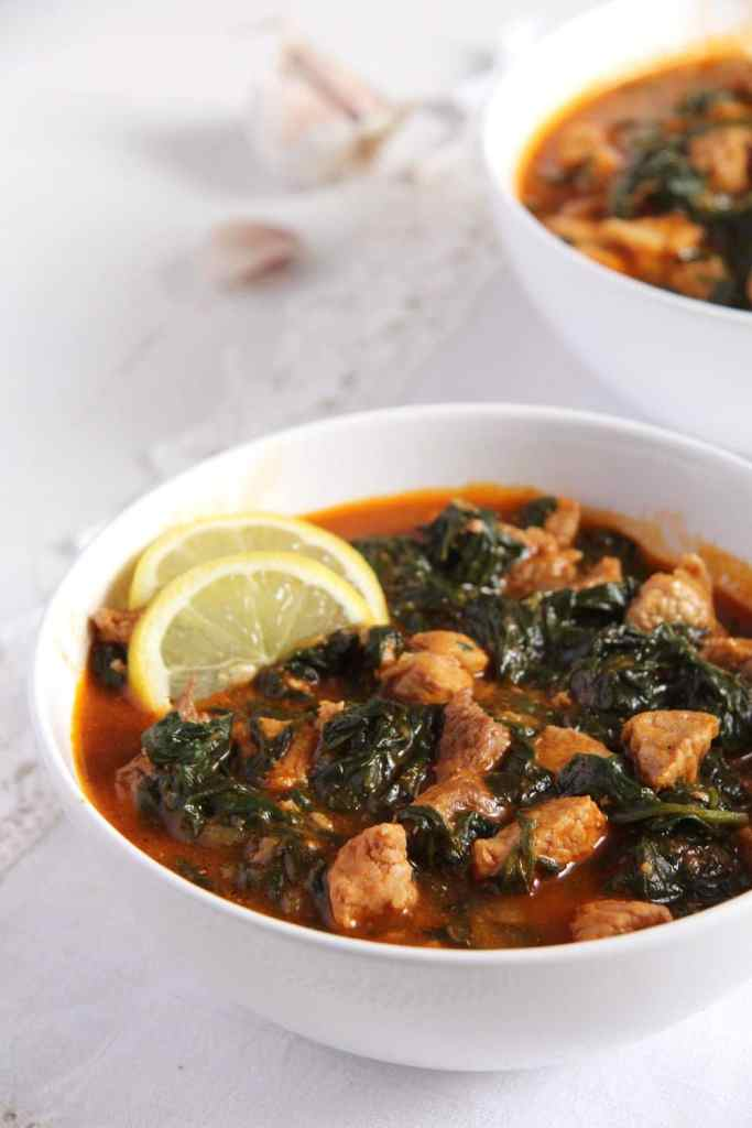 spinach stew tomatoes 683x1024 Tender Spinach and Pork Stew in Tomato Sauce