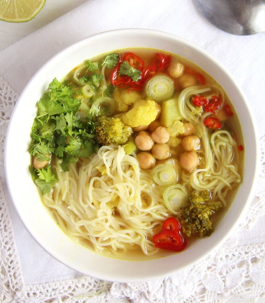 turmeric vegetable broth Turmeric Paste Soup with Noodles and Vegetables