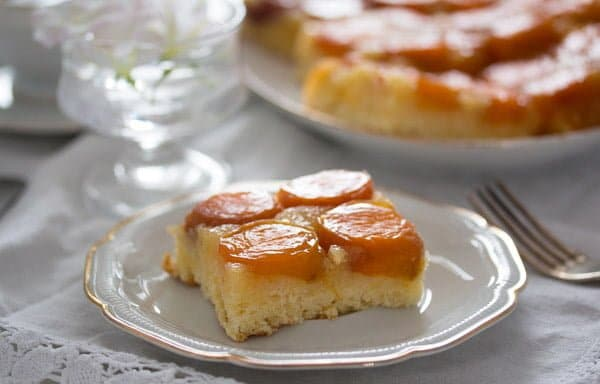 a slice of fresh apricot cake