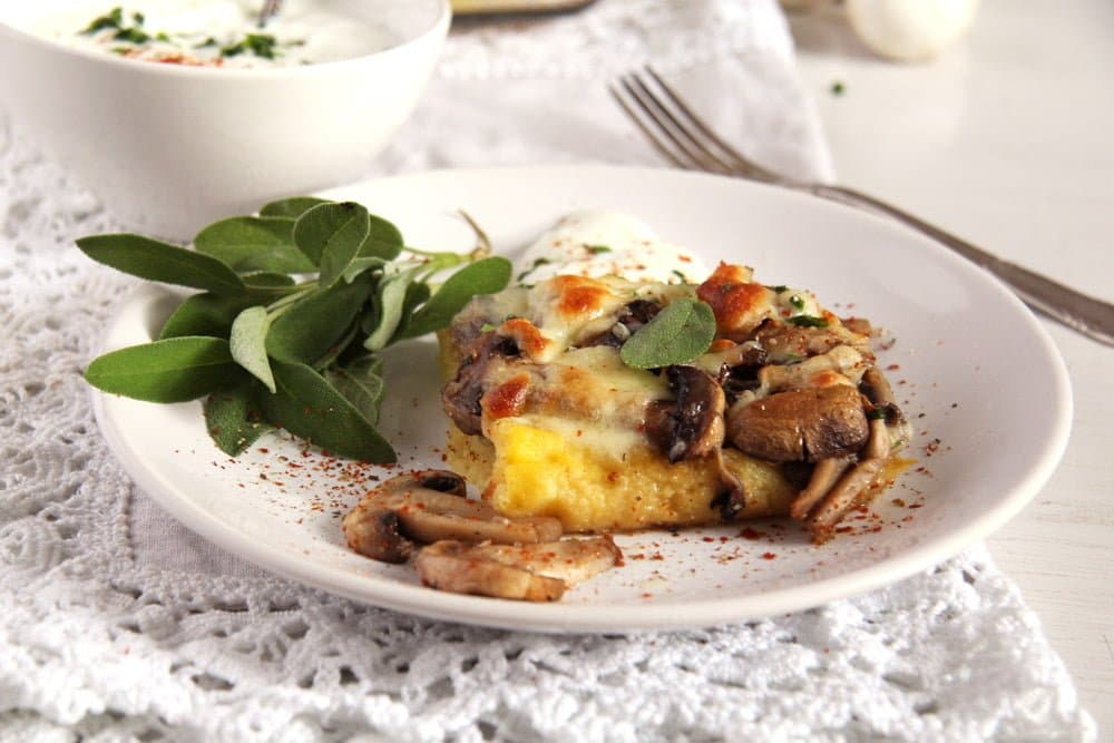 polenta with mushroom and cheese topping