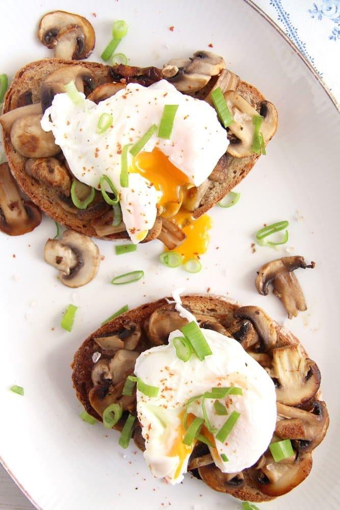 mushroom toast garlic Mushroom Garlic Sourdough Toast with Poached Eggs