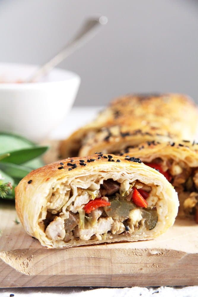 yufka roll chestnuts Yufka or Filo Rolls with Chestnuts, Leftover Turkey and Herbs