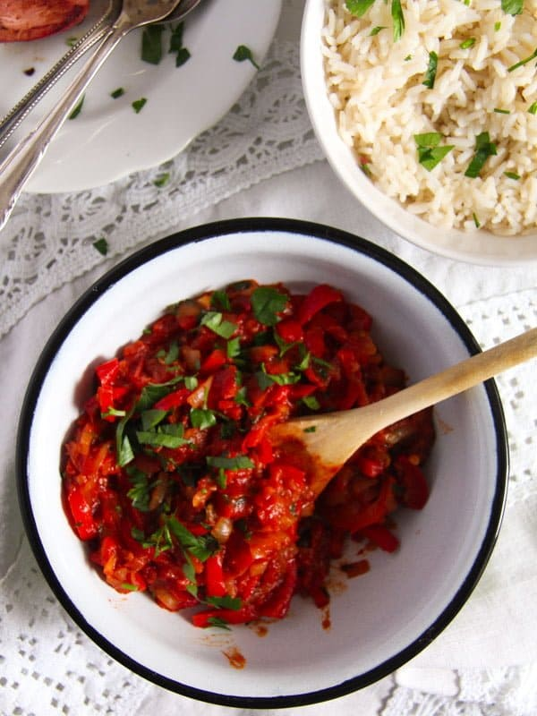 Hungarian Lecso edited 2 Hungarian Pepper and Tomato Stew – Vegan Lecso Recipe