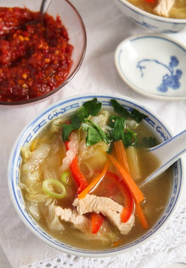 chinese soup 4 Healthy Potato and Turkey Soup with Napa Cabbage