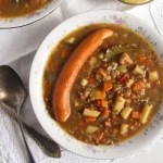 German Lentil Potato Soup with Vienna Sausages
