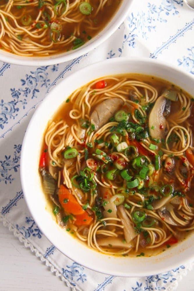 mushroom noodle soup Quick and Spicy Mushroom Egg Noodle Soup