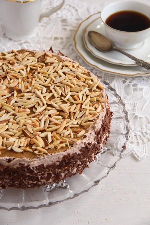polish almond cake 2 Almond Cake with Coffee Caramel Buttercream – Polish Tort Migdalowy
