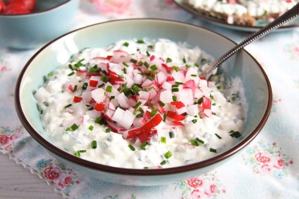 polish cottage cheese spread with chives and radishes