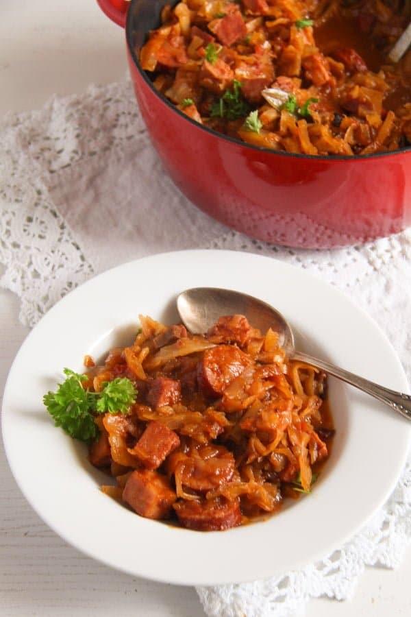polish pork stew 6 Sauerkraut Stew with Pork and Sausages – Polish Bigos Recipe