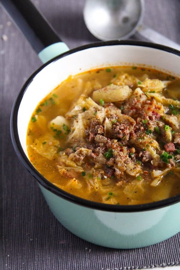 savoy cabbage soup 2 von 5 German Savoy Cabbage Soup with Ground Meat and Potatoes