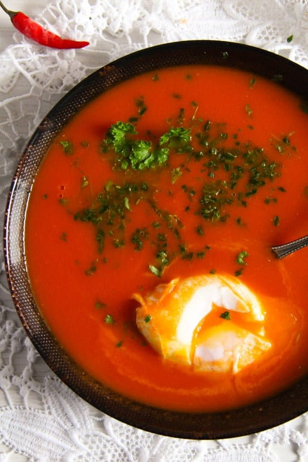 tomato soup 3 Spicy Tomato Ginger Soup with Poached Eggs