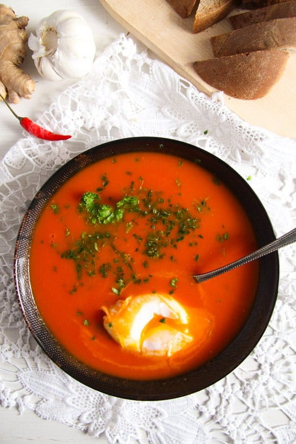 tomato soup 4 Spicy Tomato Ginger Soup with Poached Eggs