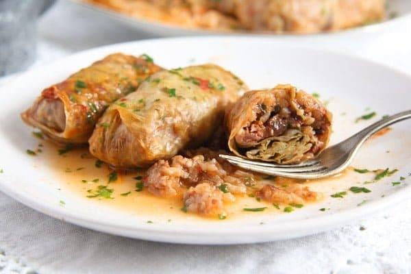 Vegan Sauerkraut Rolls with Rice, Walnuts and Raisins