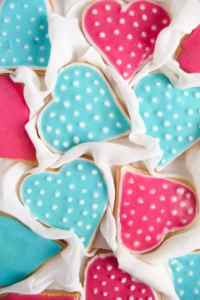 %name Easy Heart Shaped Butter Cookies with Flood Icing
