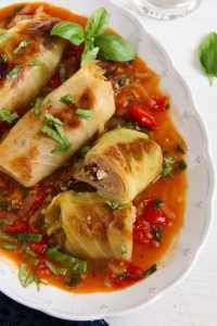 %name Vegetarian Cabbage Rolls with Millet, Tomatoes and Feta