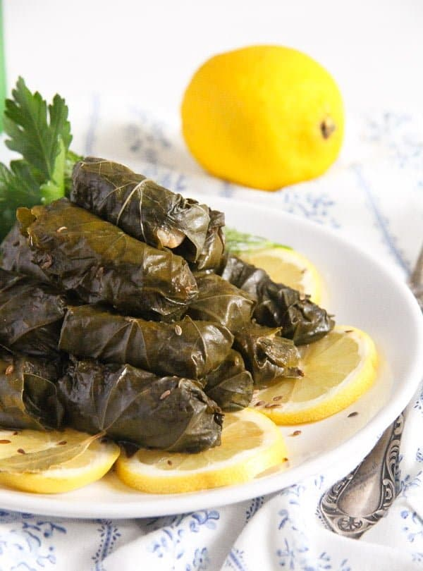vine leaves fish 2 Stuffed Vine Leaves with Fish, Bacon and Rice