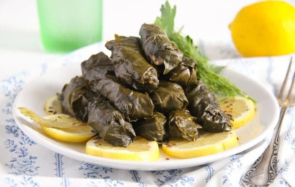 vine leaves fish 3 Stuffed Vine Leaves with Fish, Bacon and Rice